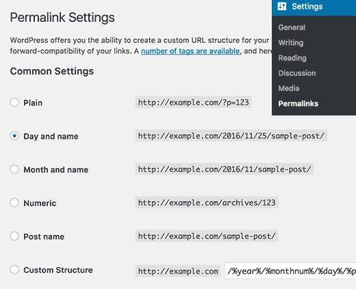 Permalink settings page in WordPress permalinks en wordpress Permalinks en wordpress como cambiarlo y personalizar entradas permalink settings
