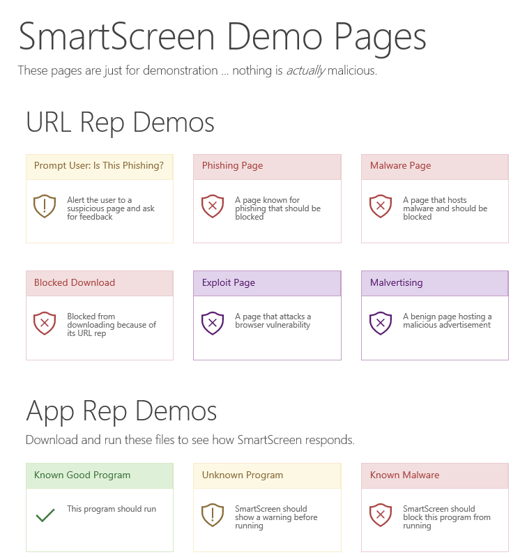 SmartScreen Demo Pages