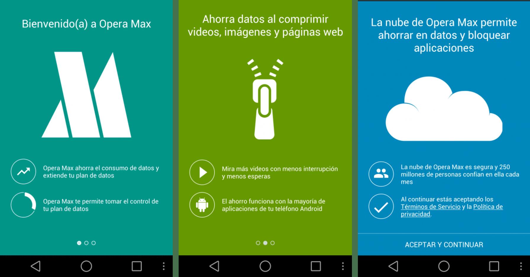 Opera Max controla el consumo de Bateria y Datos