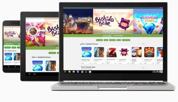 Chromebook de Google utilizando las Apps de la Play store Android