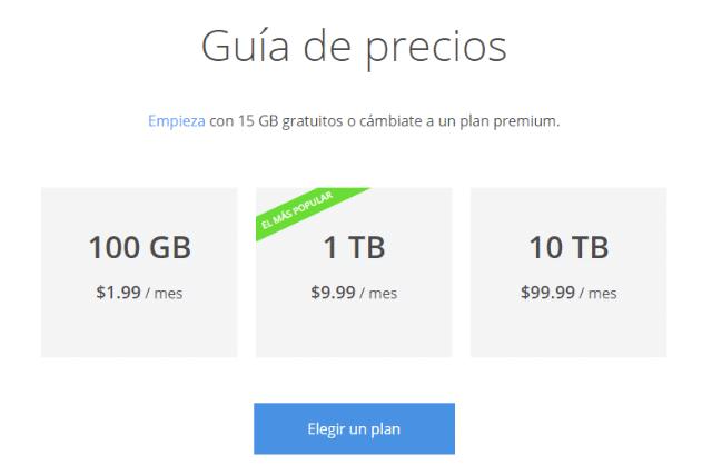 Guía de precios Google Drive