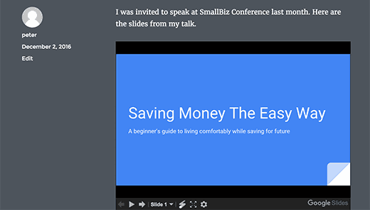 Preview of a Google Slides presentation in WordPress