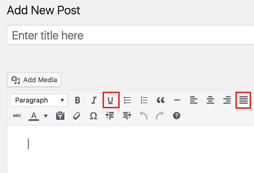 Añadir Subrayado y Justificar Botones de Texto en WordPress