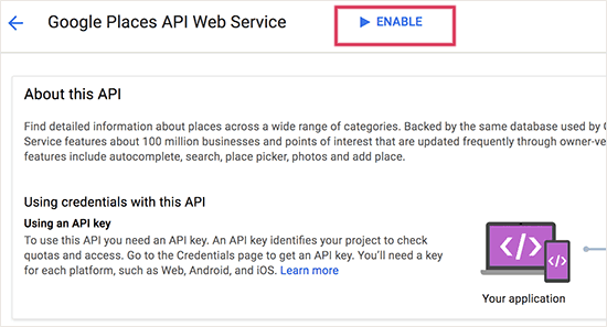 Enable Places API