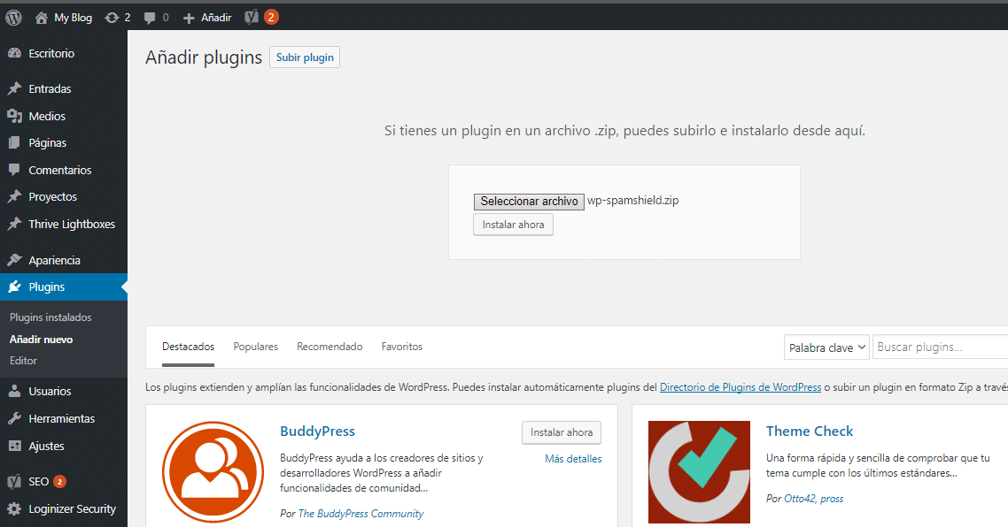 como instalar plugins en wordpress