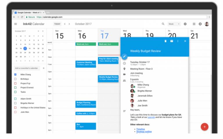 Google Calendar obtiene nuevo look fresco en la web