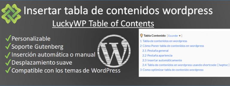 Como insertar tabla de contenidos en wordpress