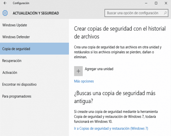 Copia de seguridad windows-10