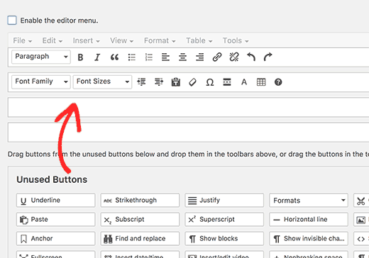 Drag and drop underline and justify text buttons to the post editor