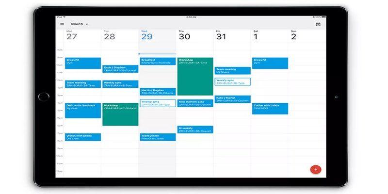 IPad nueva actualización de aplicación Google Calendar