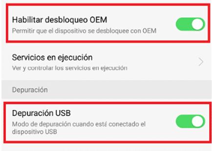 Habilitar desbloqueo de OEM y depuración USB