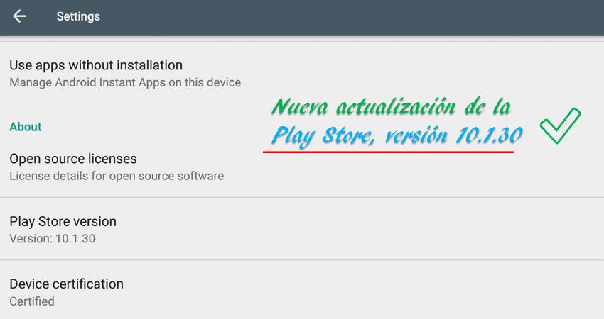 Google y su Nueva actualización de la Play Store, versión 10.1.30