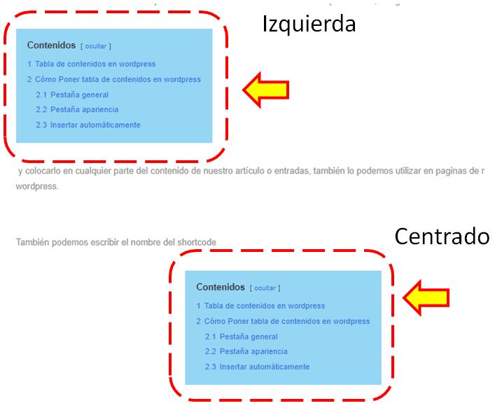 tabla de contenidos en wordpress